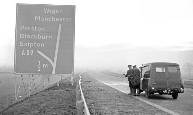 Signs on the New Preston By-Pass Motorway - 1958